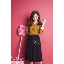 Set áo hoa + váy dập ly