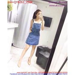 Váy yếm Jean nữ phối túi đơn giản thời trang sành điệu QYB261