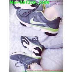 Giày thể thao nam cổ thấp màu đen phối với viền màu xanh lá  GAT210