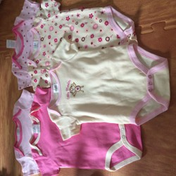sét 5 áo body cotton  mùa hè cho bé 3-6 tháng