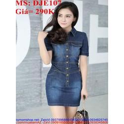 Đầm jean nữ phom ôm thiết kế giả túi sành điệu DJE107