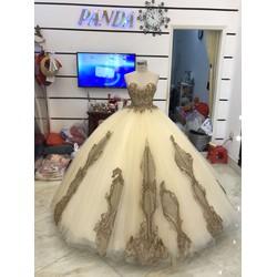 áo cưới chân ren kim sa lấp lánh đồng vàng cúp ngực