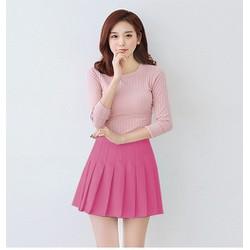 COMBO Chân váy xếp ly màu hồng + Quần giả váy xếp ly màu đen xinh xắn