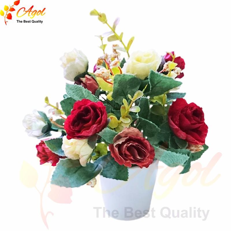 Chậu hoa hồng lụa giả 2