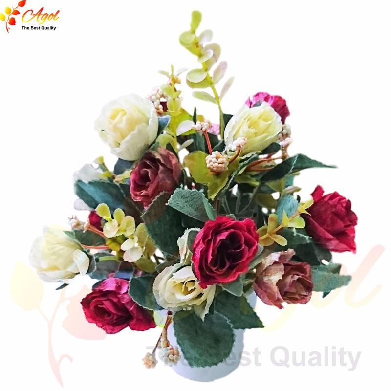 Chậu hoa hồng lụa giả 1