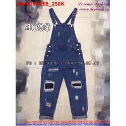 Quần yếm jean rách màu xanh sậm cá tính QYB269