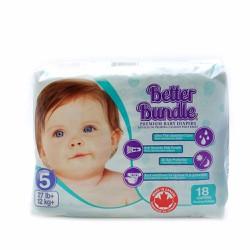 6 bịch bỉm dán Better bundle size 5 có 18 miếng x4 cho bé từ 9 kg