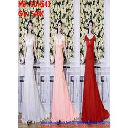 Đầm cô dâu ren hoa nổi thiết kế bẹt vai sành điệu DDH543