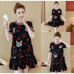 Đầm suông hạ eo họa tiết Love Cat xinh xắn - hàng nhập Quảng Châu