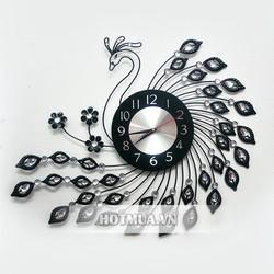 Đồng hồ treo tường trang trí chim công tạo dáng quyến rũ
