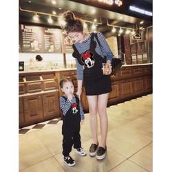 sét áo sọc + yếm micky cho mẹ và bé