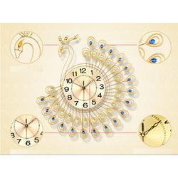 Đồng hồ treo tường hình chim công lớn