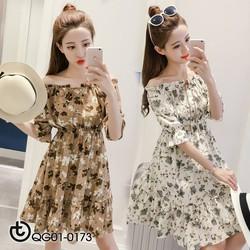 Đầm voan hoa trễ vai xinh xắn - hàng nhập Quảng Châu