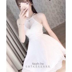 Đầm xoè yếm lứoi phối ren _MÕ CHU SHOP