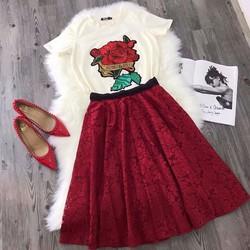 Set váy xoè ren áo tay con hoa hồng _MÕ CHU SHOP