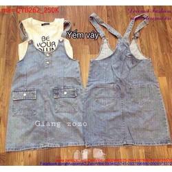 Váy yếm Jean nữ phối 2 túi thời trang dễ phối đồ QYB262
