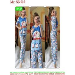 Đồ bộ mặc nhà dài tay hình mèo doremon đáng yêu NN505