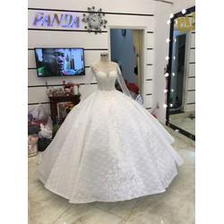 áo cưới trắng tay dai luxury đuôi dài chụp hình