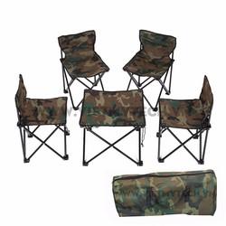 Bộ bàn ghế gấp du lịch rằn ri 1 bàn 4 ghế, tặng kèm túi Việt Mỹ