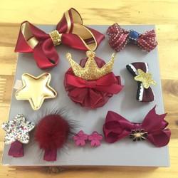 set 10 kẹp tóc cho bé gái Chicbaby đỏ, hồng, xanh navy