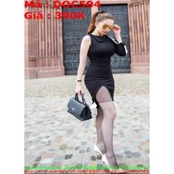 Đầm ôm đen sát nách 1 bên sành điệu cá tính DOC504