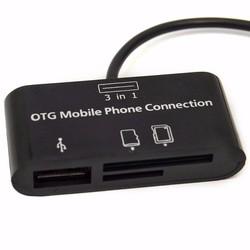 Đầu đọc thẻ 3 trong 1 OTG , SD Micro SD  card reader
