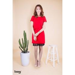 Đầm suông thắt nơ eo phối ren ở chân váy phong cách trẻ trung DS003