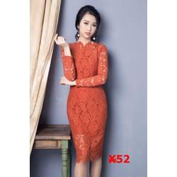 Đầm Ren Cam Tay Dài Cao Cấp