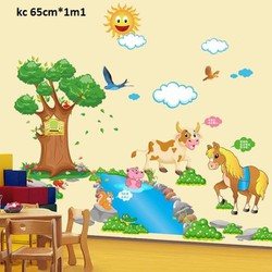 decal dán tường vườn thú cho bé