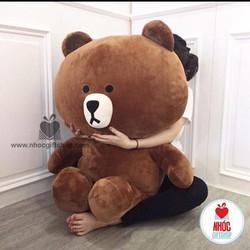 Gấu brown vải nhung mềm mại m8