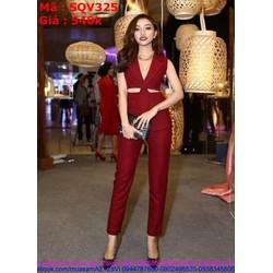 Sét áo kiểu khoét eo thời trang và quần baggy sành điệu SQV325