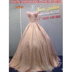 váy cưới kết hạt cườm kiêu sa AC403
