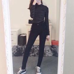 quần jean trơn lưng cao