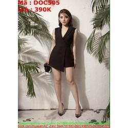 Đầm ôm đen phong cách công sở kiểu vest thời trang DOC505