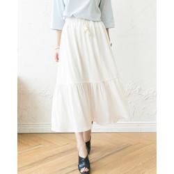 Chân váy maxi dài 2 tầng xinh xắn vải đẹp như hình TRẮNG ĐEN