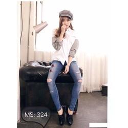 Quần jeans dài nữ rách đầu gối bụi cá tính