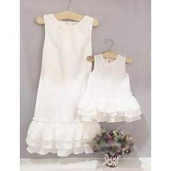 Đầm đôi cách điệu bèo xếp tầng dễ thương cho mẹ và bé HGS 772