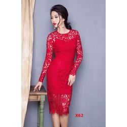 Đầm ren hoa 3D tay dài cao cấp