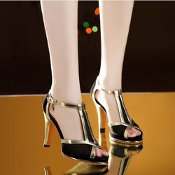 Giày cao gót phối lưói viền da cực xinh