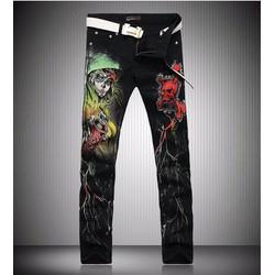 quần jeans hình đầu lâu quỷ Mã: ND0947 - 1