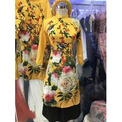 áo dai bưng quả vàng hoa xinh đẹp sang trọng