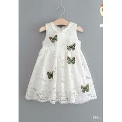 Đầm ren bướm xinh in nổi cho bé diện mùa hè
