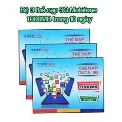 Bộ 3 thẻ nạp 3G Mobifone dung lượng 1.000MB cho 10 ngày
