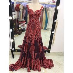 áo cưới đuôi cá kim tuyến đỏ