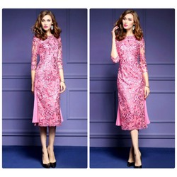 Đầm body ren phối váy dập ly cao cấp