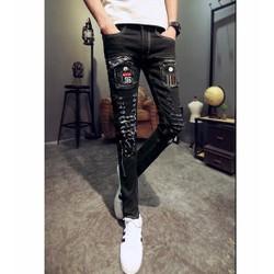 quần jeans rách chắp vá 96 Mã: ND0941 - ĐEN