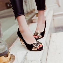 Giày cao gót vuông phối đính cườm quý phái sang trọng Lady-CG1059