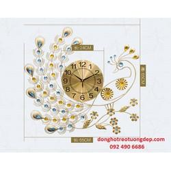 Đồng hồ treo tường trang trí chim công vàng nhảy múa DHCC-05