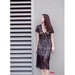 Đầm ren cổ V tay ngắn cao cấp