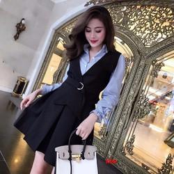 Vest chân váy công sở gồm áo sơ mi, áo ghi lê, váy xòe